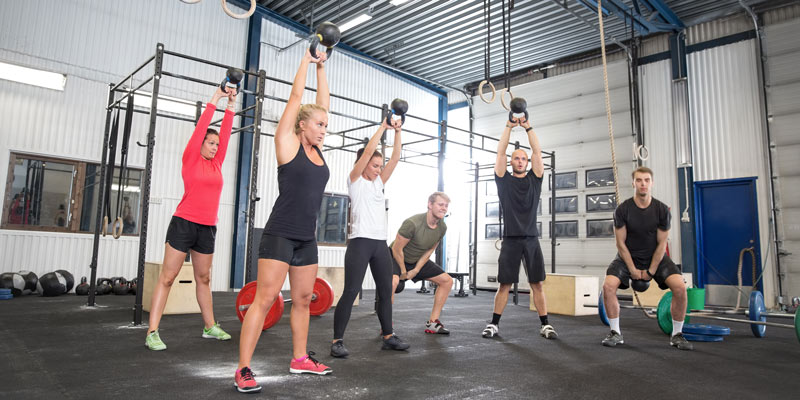 A kettlebell group training class
